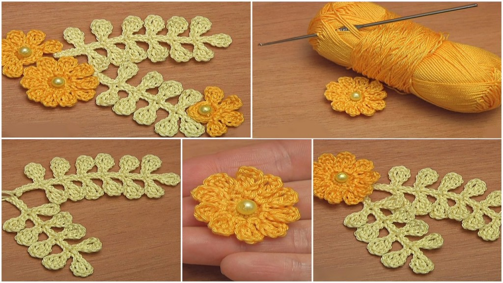 How To Crochet Simple Leaf Branch And Flat 10 Petal Flower