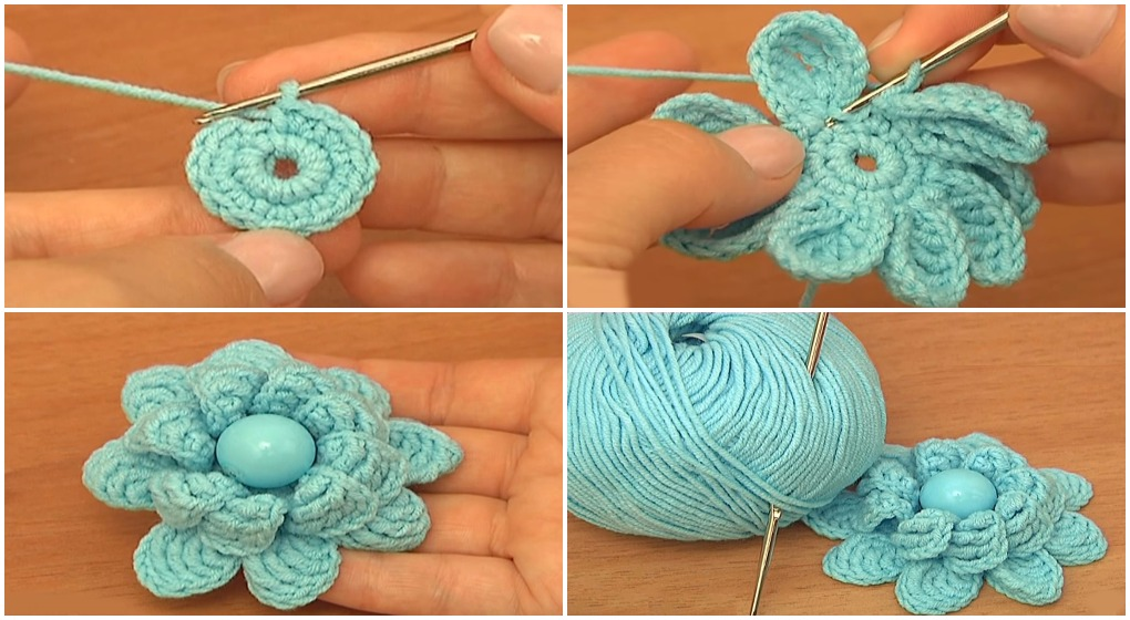Crochet Double Layered Flower - Tutorial - ilove-crochet