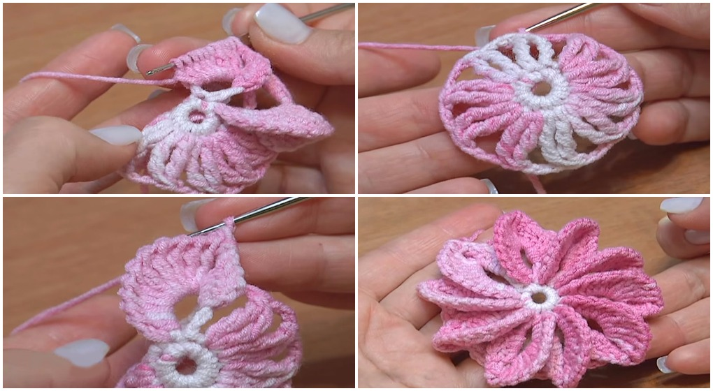 Crochet 3D Flower With 10 Asymmetrical Petals