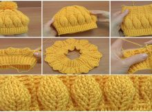 Crochet Beanie Hat With 3D Leaves