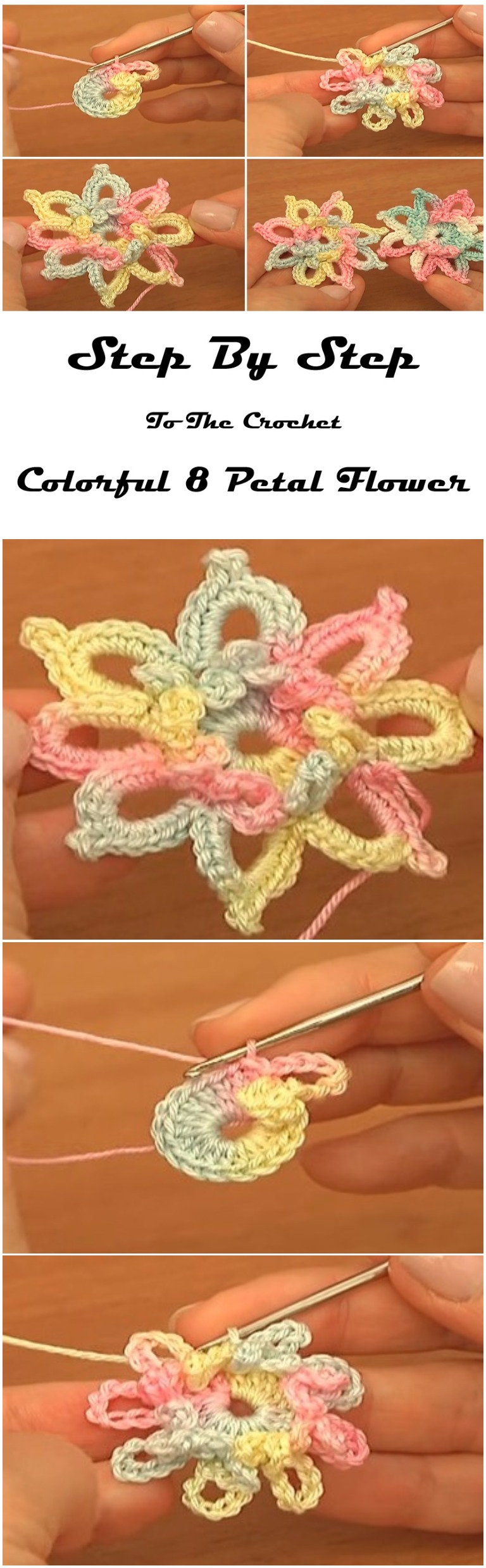 Crochet Colorful 8 Petal Flower