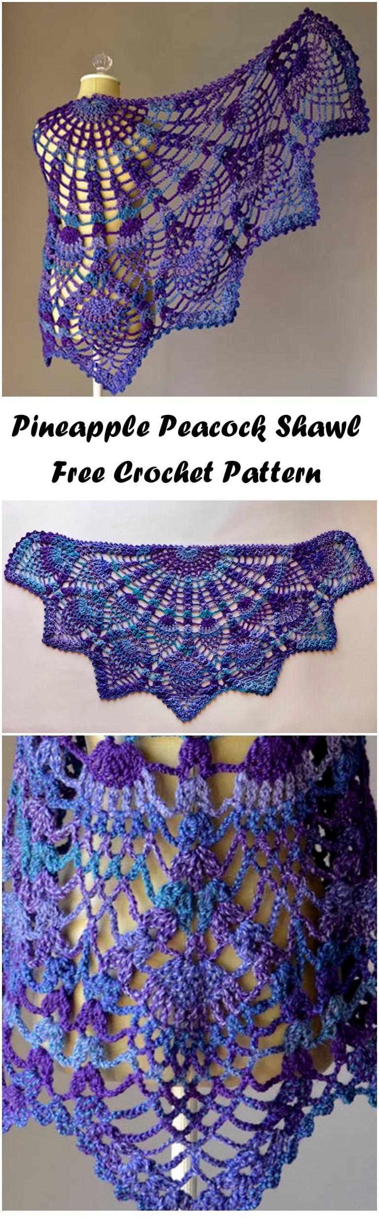 Crochet Pineapple Peacock Shawl Ilove Crochet