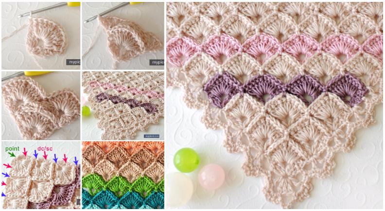 Triangle Shawl Box Stitch Crochet Easy Pattern Ilove Crochet