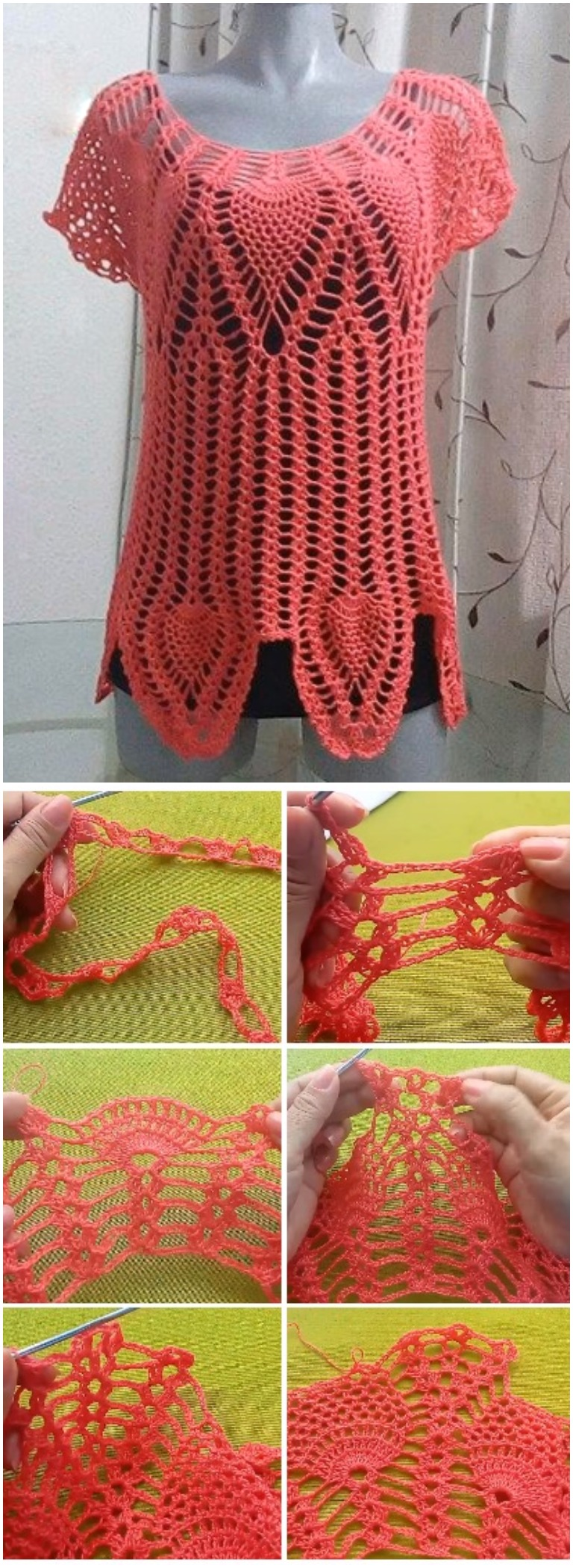 Crochet Blouse With Pineapple Borders