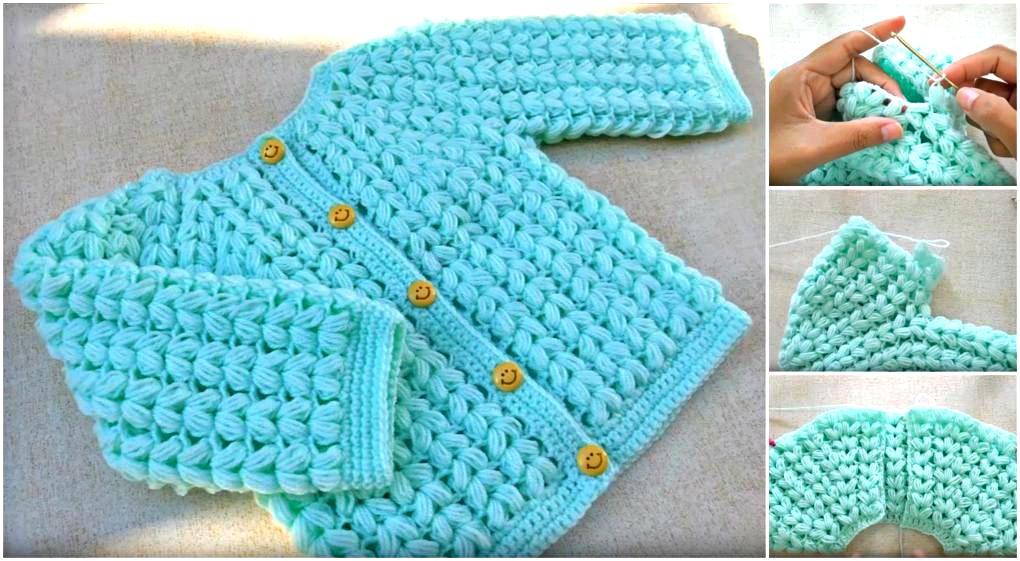 Crochet Baby Jacket Tutorial : Puff Stitch Baby Jacket Crochet Tutorial - ilove-crochet