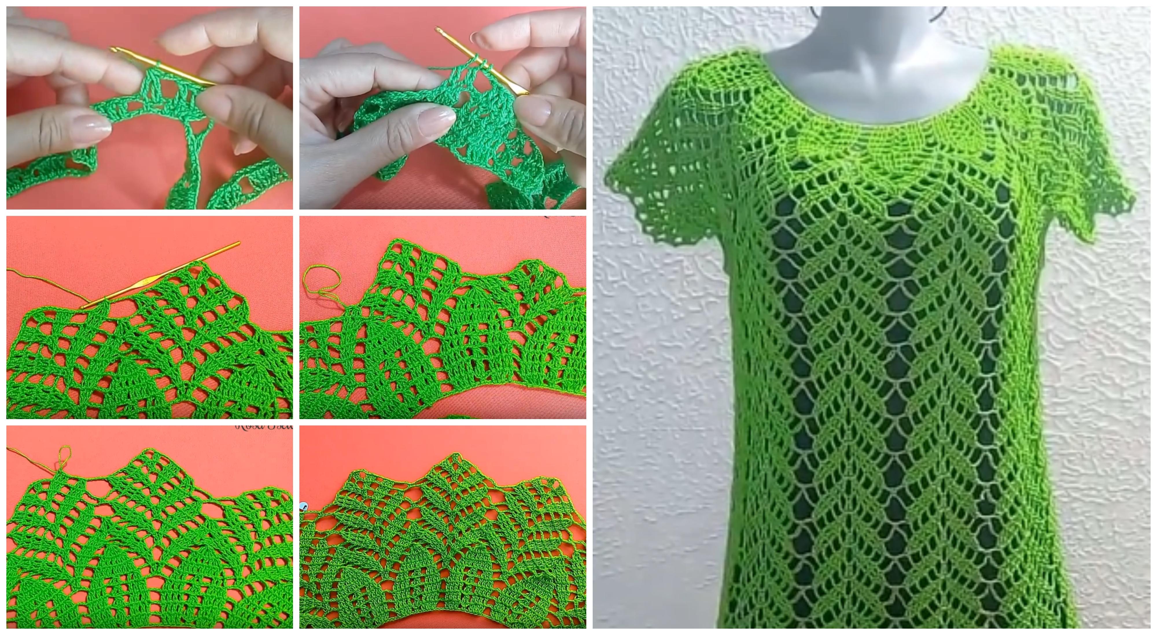 Crochet Lemon Leaves Blouse Tutorial - ilove-crochet