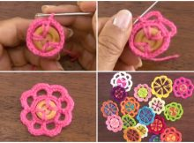 crocheted flowers with buttons