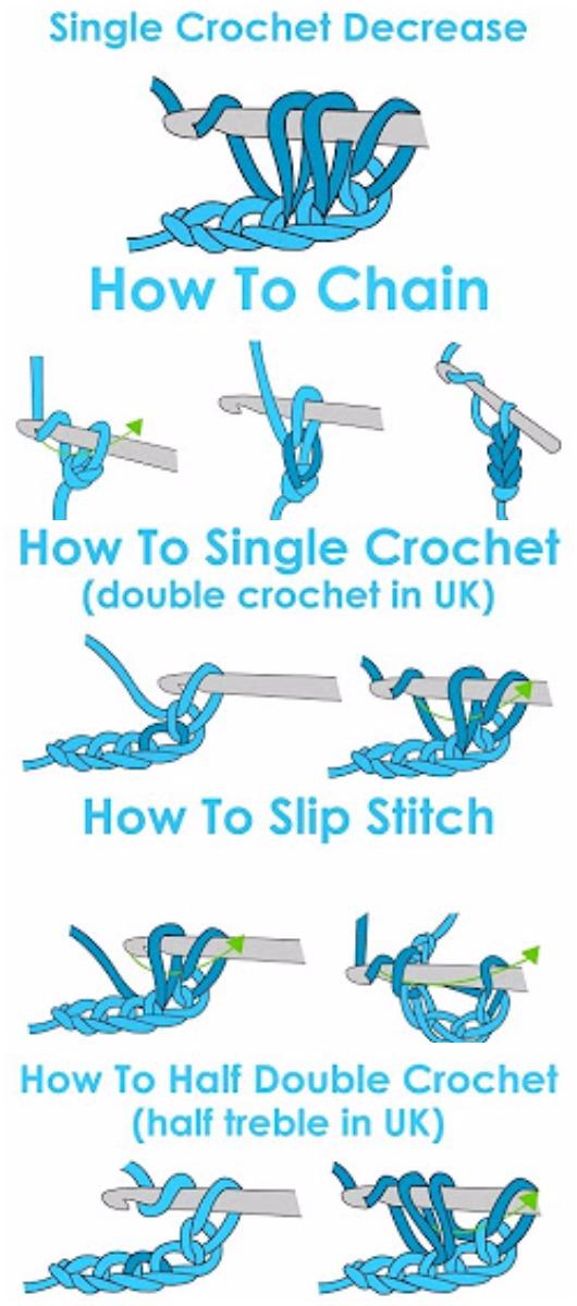 Learn To Crochet Single, Half Double, Slip Stitch Crochet