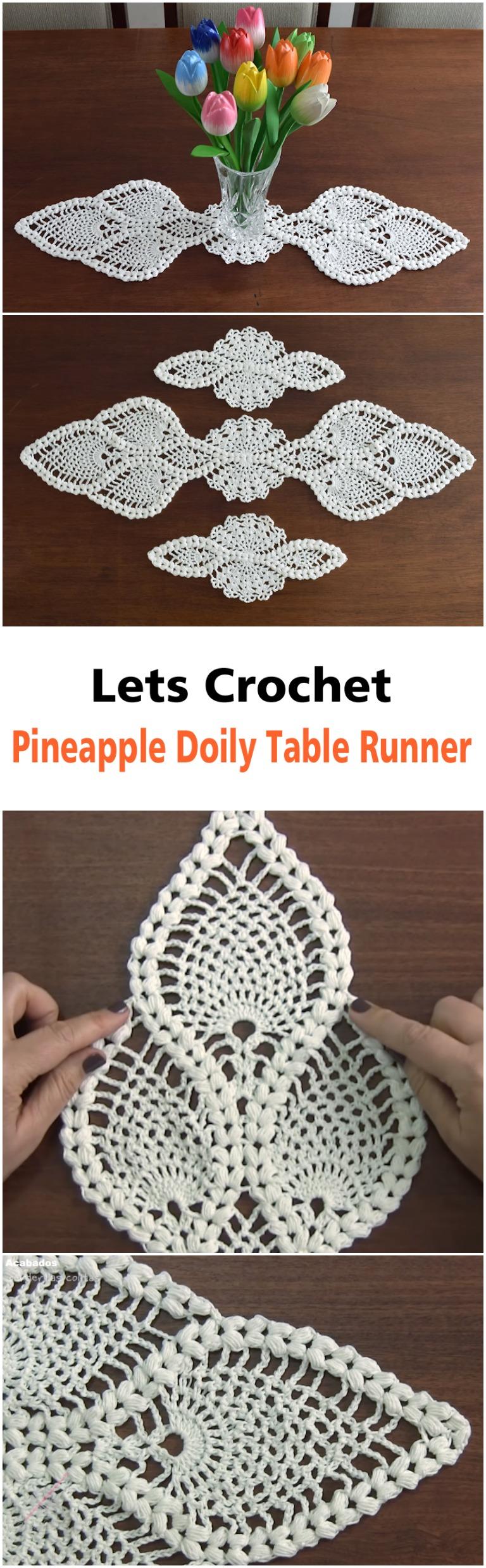 Crochet Pineapple Doily Table Runner - ilove-crochet