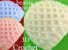 3D Beanie Hat Waffle Stitch