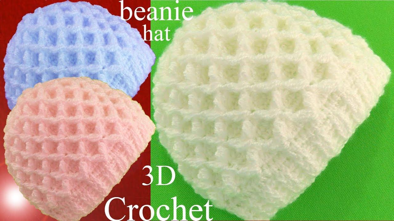 Waffle Stitch Knit Hat Pattern : Crochet 3D Beanie Hat Waffle Stitch - ilove-crochet