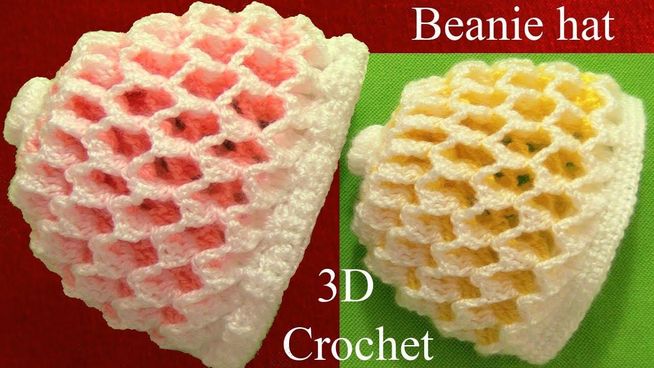Crochet 3D Reversible Beanie In Two Colors - ilove-crochet 02e4dfece40