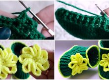 Crochet Baby Booties With Flower