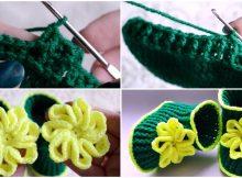 Crochet Baby Booties With Flower