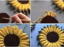 Crochet Sunflower Hot Pad