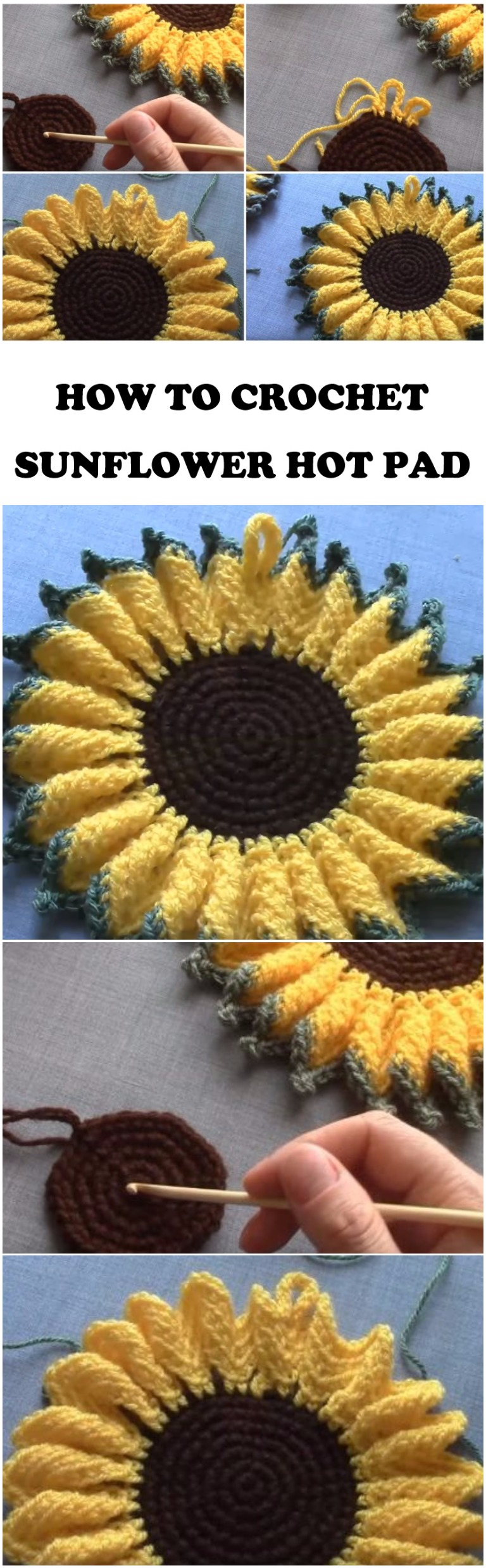 Crochet Sunflower Hot Pad Step By Step