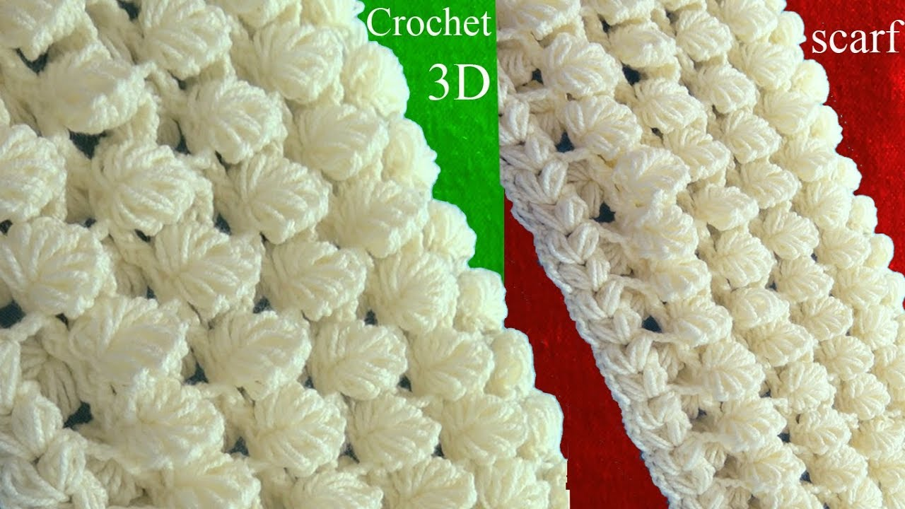 Reversible Leaf Knitting Pattern : Crochet Scarf In 3D Point Of Reversible Leaves Step By ...
