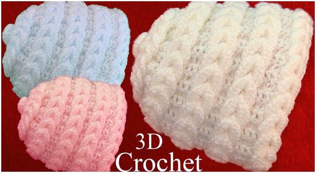 Crochet Beanie Hat In 3D Point Braided Eyelet - ilove-crochet 8d244416bda