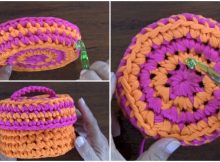 Creative Basket With Crochet Cap