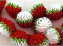 Crochet 3D Garland Spheres Strawberries Stitch