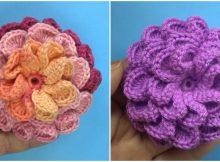 Crochet Beautiful 3D Flower Free