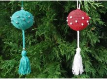 Crochet Christmas Ball With Tassel And Decorative Beads