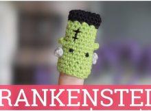 Crochet Frankenstein Finger Puppet