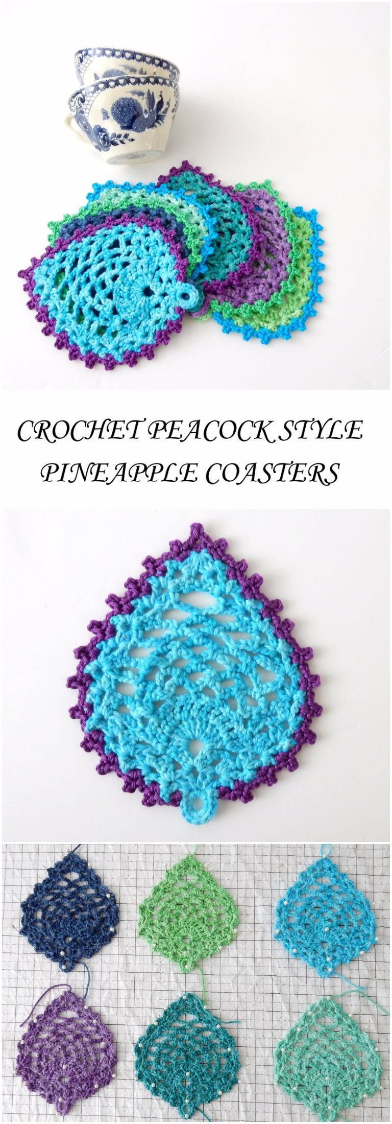 Crochet Peacock Style Pineapple Coasters Free Pattern