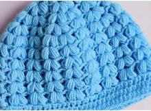 Crochet Puff Stitch Beanie Hat Free