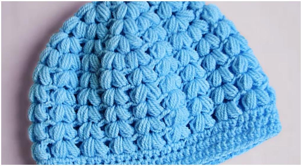 Crochet Puff Stitch Beanie Hat Free Pattern  Video  - ilove-crochet 3fb7a070d4b