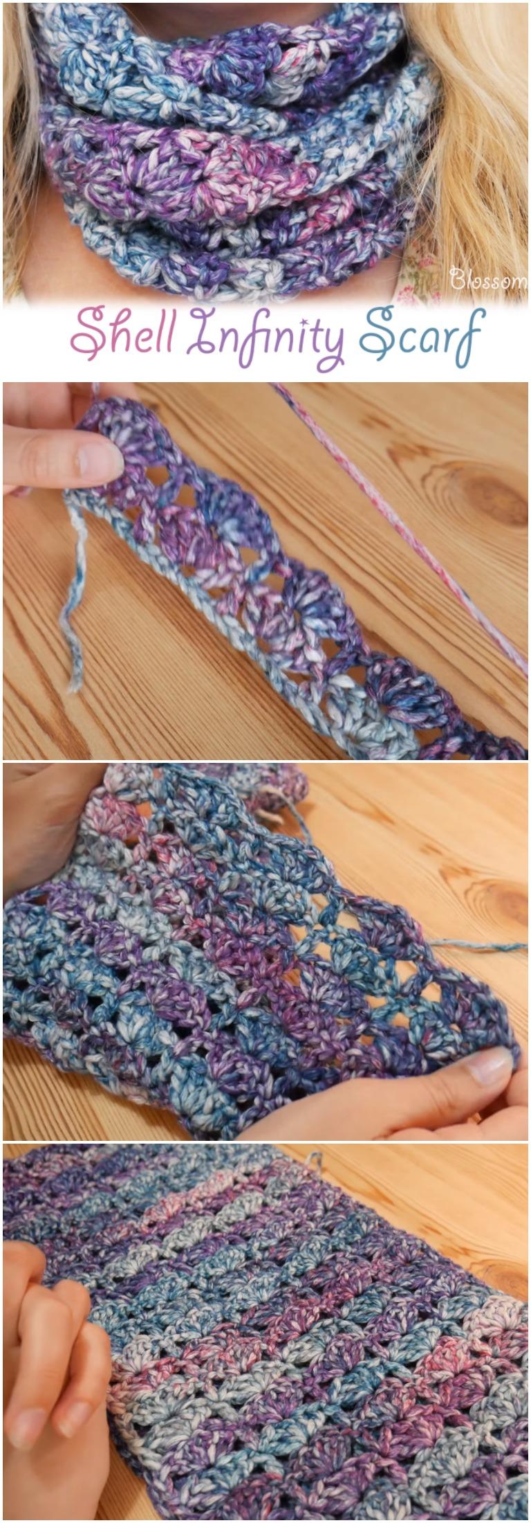 Crochet Shell Infinity Scarf