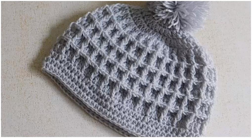 crochet beautiful beanie hat waffle stitch