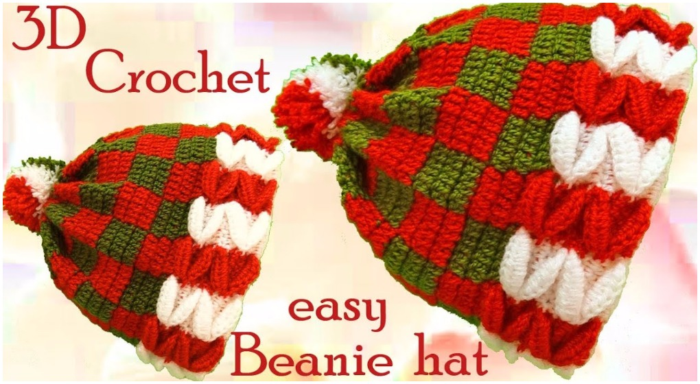 Crochet Christmas 3D Beanie Hat - ilove-crochet