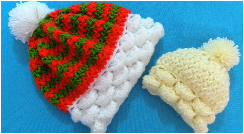Crochet Colorful 3D Beanie Hat Marshmallow Stitch - ilove ...