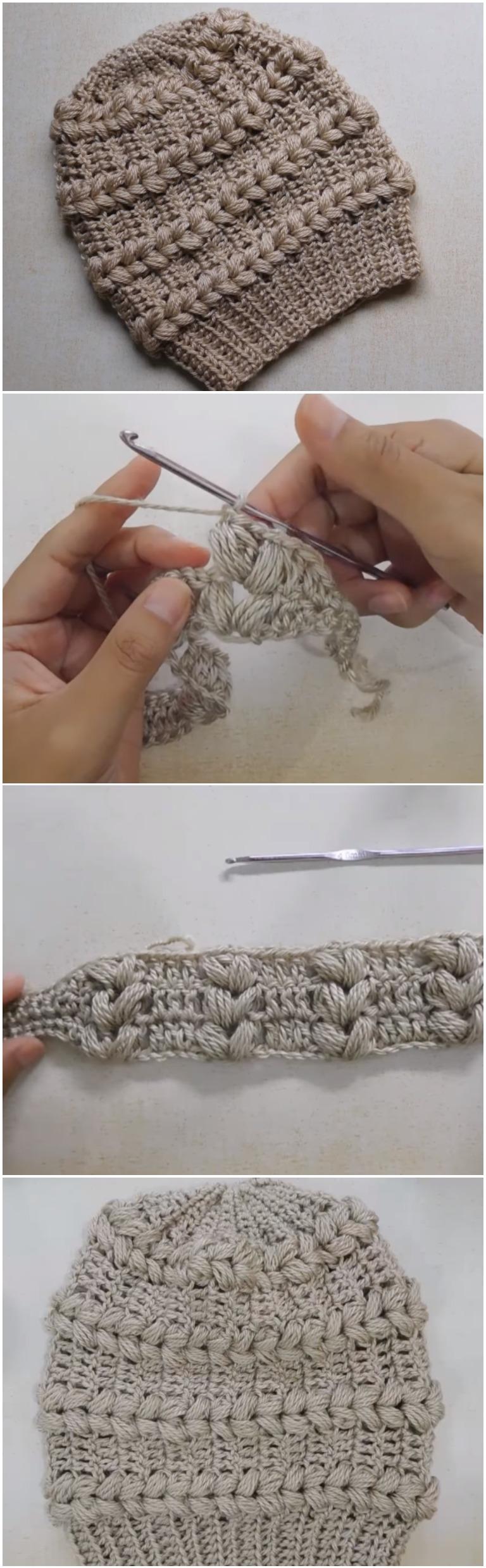 Crochet Beautiful Beanie Hat Fantasy Puff Stitch