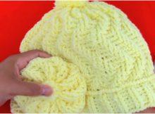 3D Beanie Hat With Flower Zig Zag Stitch
