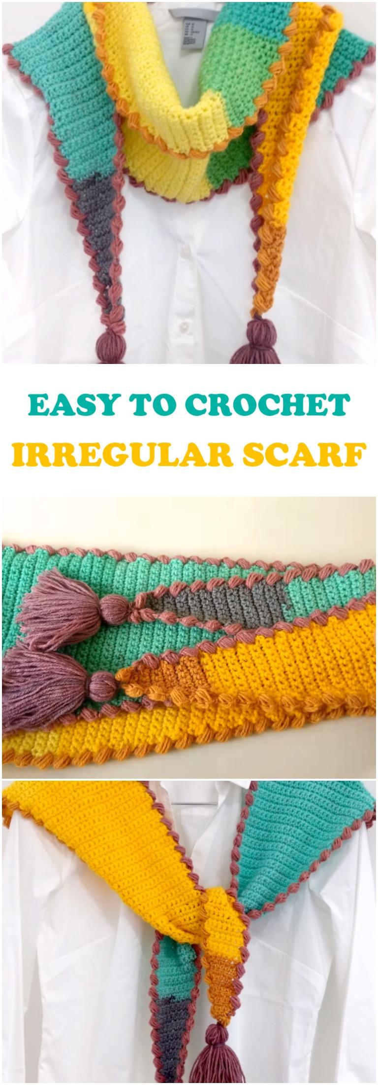 Easy To Crochet Irregular Scarf