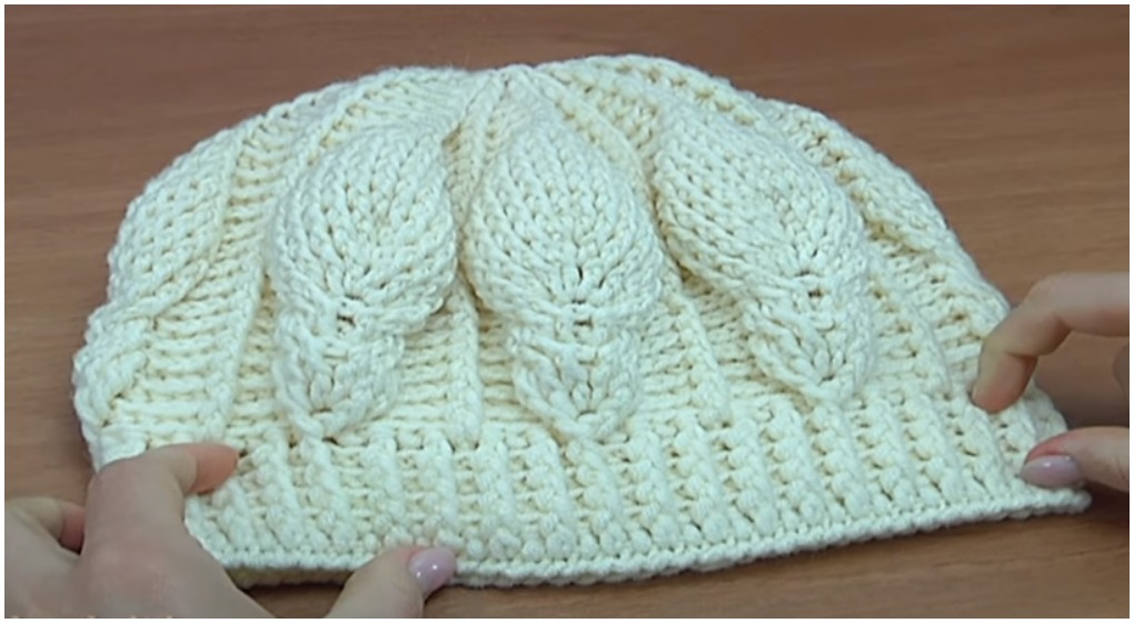 How To Crochet 3D Beanie Hat With Leaf Stitch - ilove-crochet