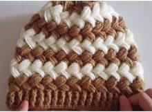 Beanie Hat Cross Puff Stitch