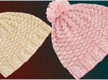 Crochet Beanie Hat Triple Rice Stitch