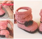 Crochet Peach Baby Booties