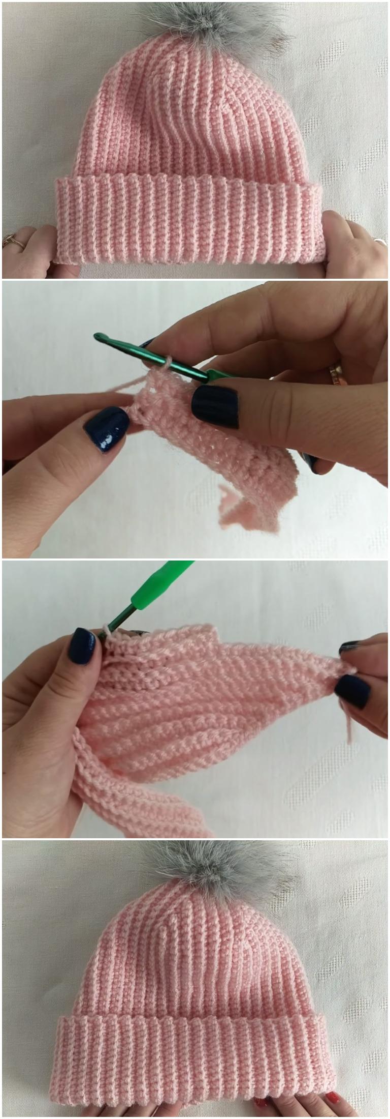 Crochet Woman's Beautiful Hat With Pom Pom