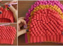 Beautiful Beanie Hat Granite Puff Stitch