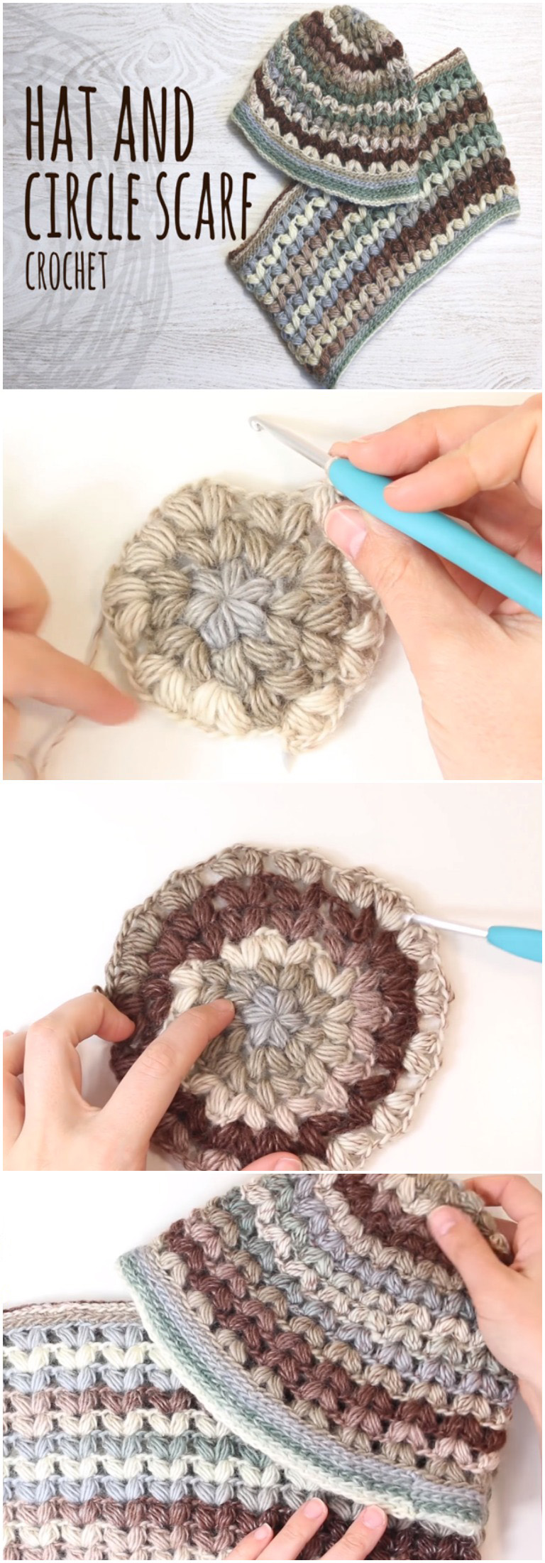 Easy To Crochet Beanie Hat And Circle Scarf Puff Stitch
