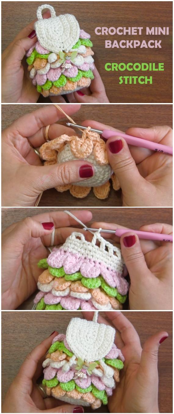 Crochet Mini Backpack Crocodile Stitch - Free Pattern [Video ...