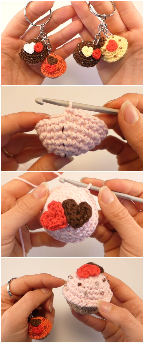 Crochet Mini Cupcake Keychain