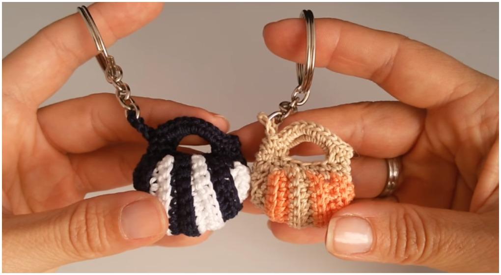 Crochet Keychain Mini Bag Free Pattern Video Ilove