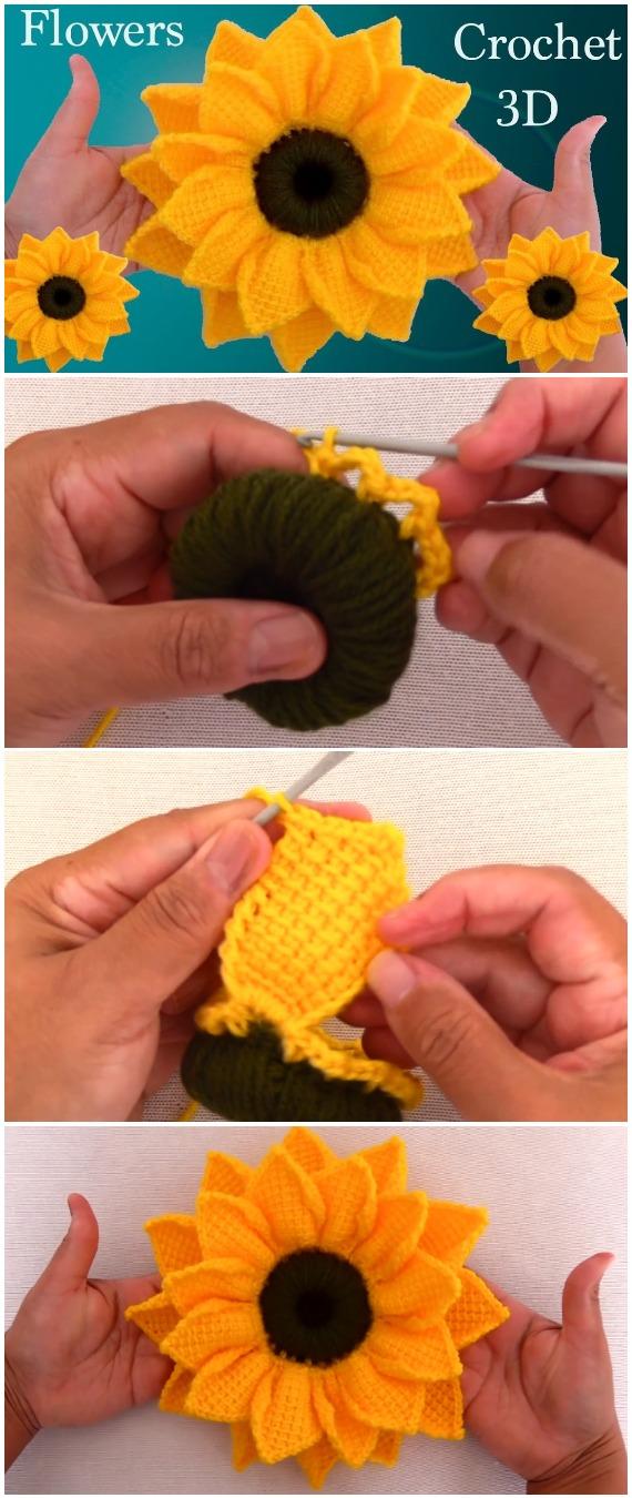 Crochet 3D Sunflower Tunisian Stitch