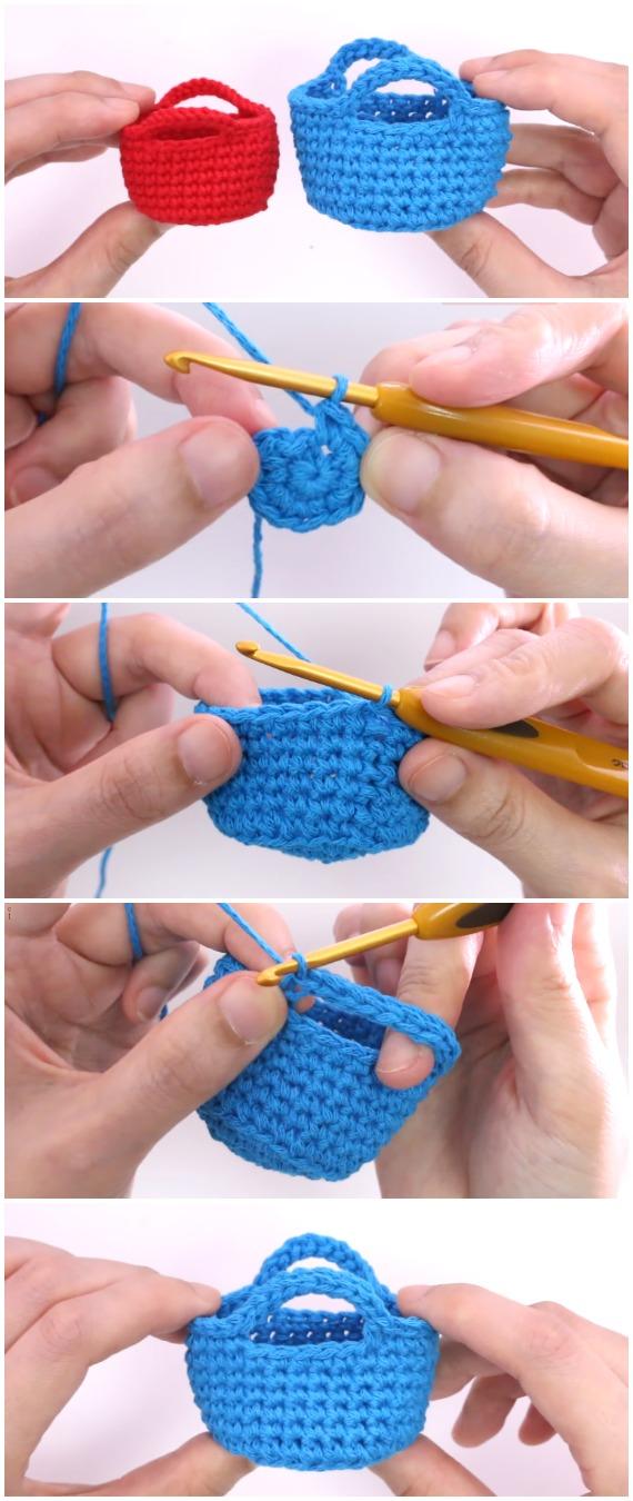Crochet Miniature Basket - Free Pattern [Video]