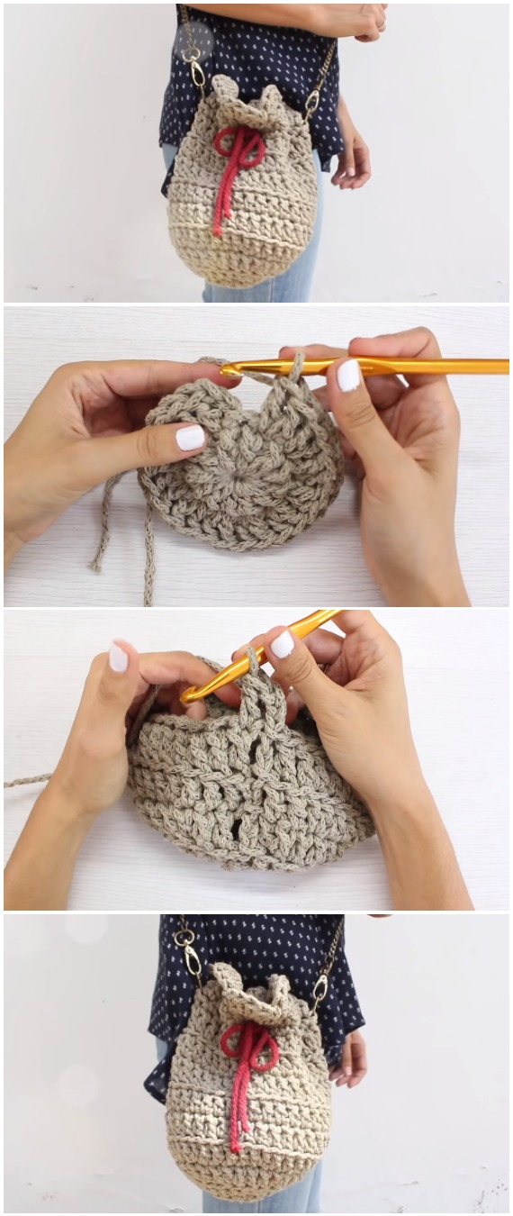 Crochet Easy Drawstring Bag